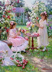 two girls making flower bouquets in a garden by aleksandr averin
