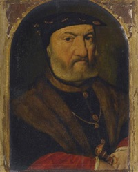 portrait of a bearded man, bust length, wearing a black hat and fur, holding a dagger by dutch school-southern (16)