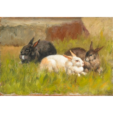 rabbits in a field by william baptiste baird