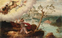 elijah ascending to heaven in the fiery chariot by herri met de bles