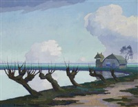 pollard willows near a lake by dirk smorenberg