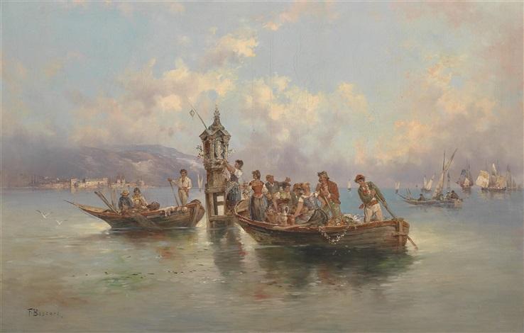 festliche gesellschaft in fischerbooten by f boscari