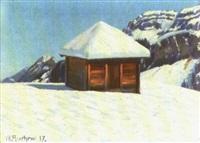 speicher auf gerschnialp im winter by wilhelm amrhein