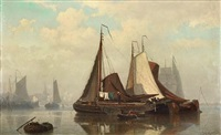 an estuary scene with barges at anchor by johan conrad greive