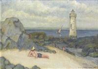 bord de mer avec phare by alexandre joseph alexandrovitch