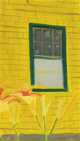 yellow house with lilies by alex katz