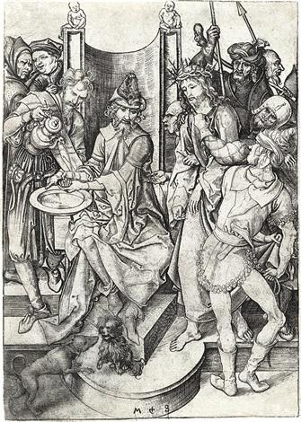 christ before pilate by martin schongauer