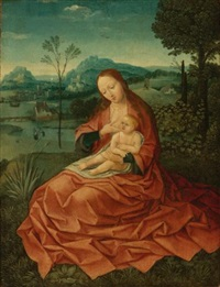 virgin and child in a landscape by bernaert (barend) van orley