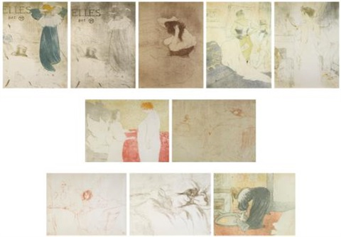 elles set of 9 wcover and frontispiece by henri de toulouse lautrec