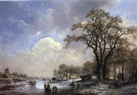 winter landscape with figures on frozen river by albert eduard moerman