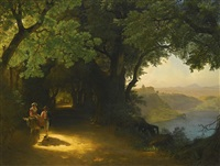 view of castel gandolfo and lake albano by lev felixovich lagorio