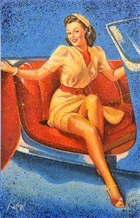 pin-up girl in convertible by dennis ropar
