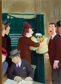 woman asks election official to hold groceries as she enters polling booth (magazine cover illus. for 11/4/1944 issue of new yorker) by william henry cotton