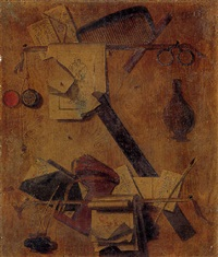 trompe l'oeil of a letter rack with a comb, a watch, spectacles and a quill by andrea domenico remps
