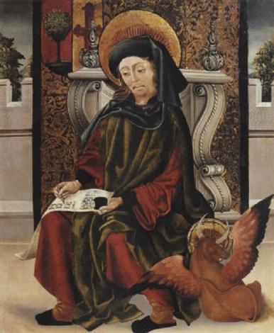 saint luc écrivant levangile by portuguese school 16