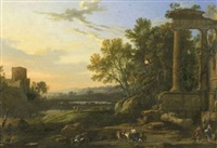 figures and livestock in a pastoral landscape with ruins by pierre patel