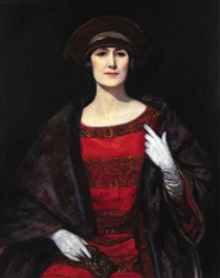 portrait of a lady in a fur shawl, (possibly mrs amshewitz) by john henry amshewitz