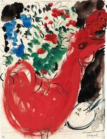 le coq rouge aux fleurs by marc chagall