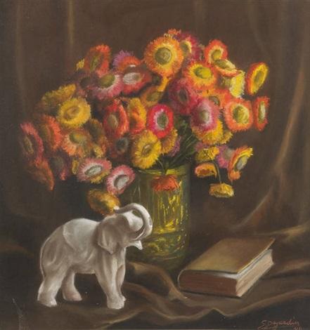 composition aux fleurs et à léléphant by simone dujardin
