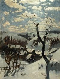 dorflandschaft im winter by adolf fischer-gurig