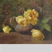still life with white roses by mary augusta hiester reid