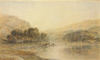 cattle watering at a river by thomas danby