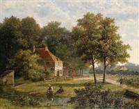 anglers by a stream by hendrik barend koekkoek