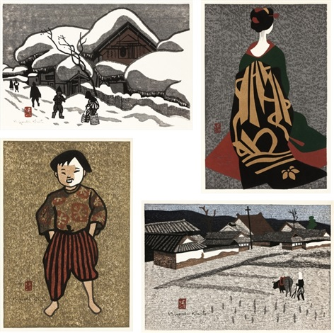winter in aizu plowing the field maiko child in aizu set of 4 by kiyoshi saito