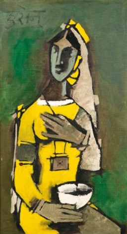 untitled woman in yellow by maqbool fida husain