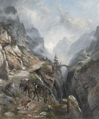 säumer in walliser gebirgslandschaft by franz adolf christian müller