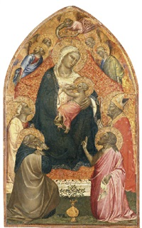the madonna and child enthroned with four saints by spinello aretino