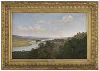 view over the river elbe by thomas fearnley