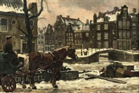 horse with a carriage in amsterdam by frans langeveld