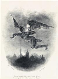 méphistophélès dans les airs (+ faust dans la prison de marguerite; 2 works from faust) by eugène delacroix