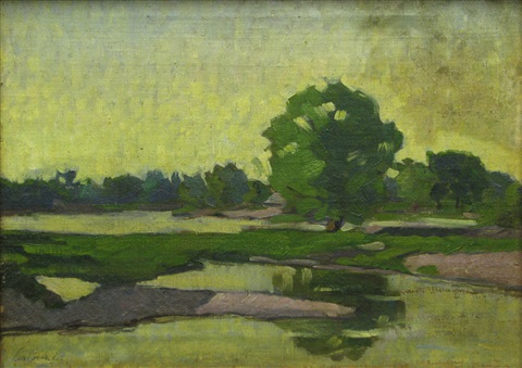 landscape with lake by emil lenhardt