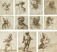 eight studies of heads and three figure studies by francois (le pipre) le piper