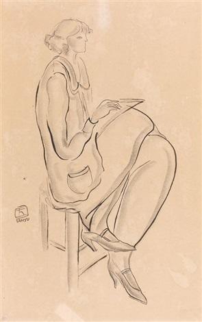 femme à la lecture by sanyu