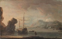 ships in a quiet estuary by aernout (johann arnold) smit