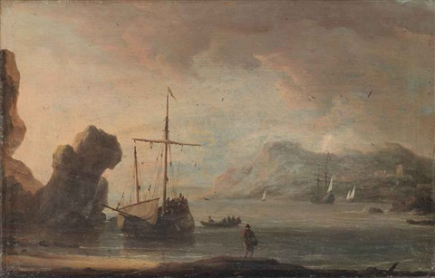 ships in a quiet estuary by aernout johann arnold smit