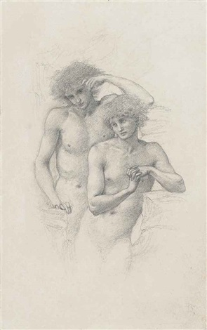 study of two male nudes for arthur in avalon by edward burne jones
