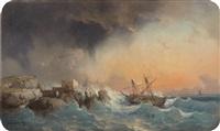 bateau dans la tempête by vincent joseph françois courdouan