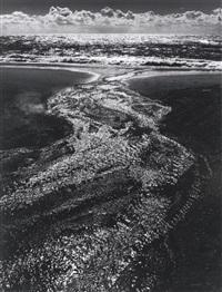 stream, sea, clouds, rodeo lagoon, california by ansel adams