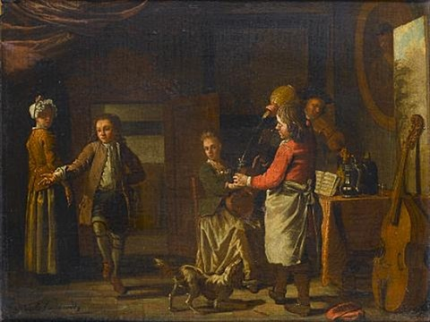 a cottage interior with figures making music a boy dancing and a serving boy pouring wine by maximilian blommaerdt