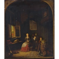interior of a kitchen with a seated woman peeling onions, a child hiding behind her, another child putting a cabbage on a barrel by jacob van spreeuwen
