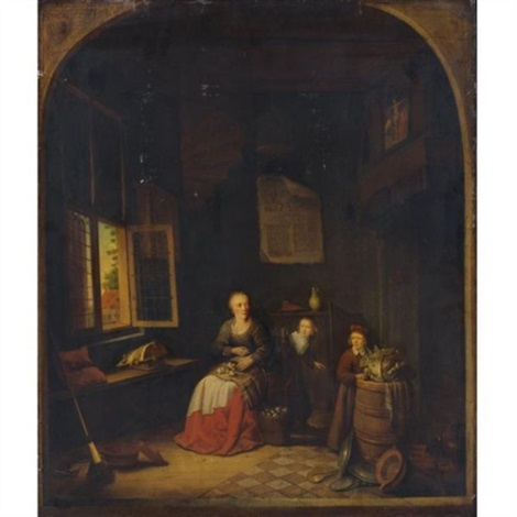 interior of a kitchen with a seated woman peeling onions a child hiding behind her another child putting a cabbage on a barrel by jacob van spreeuwen