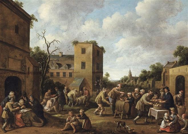 vue de village avec les sept oeuvres de charité by joost cornelisz droochsloot
