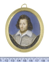 sir philip sidney (1554-1586), wearing grey doublet laid across with silver cord, white lace falling collar with scalloped edge, his brown hair worn loose (after isaac oliver) by margaret, lady bingham