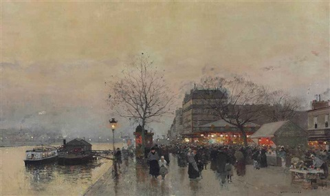 a street fair on the banks of the seine by luigi loir