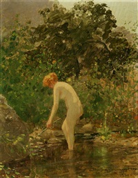 nude standing in a wooded pool by john jay baumgartner