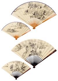 山水 (两把) 成扇 水墨纸本 (2 fans; recto-verso) by xi tuge